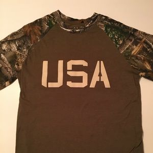 Real Tree men's USA camo Short sleeve